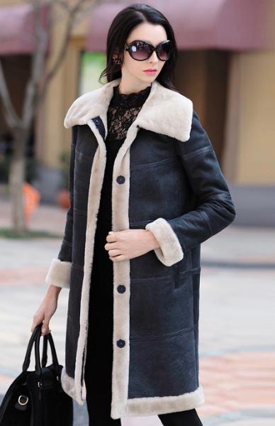 新品セレブレザームートンロングコートステンカラー毛皮ファーボア本革羊皮ラムレザーレディースネイビー紺色SM-4XL