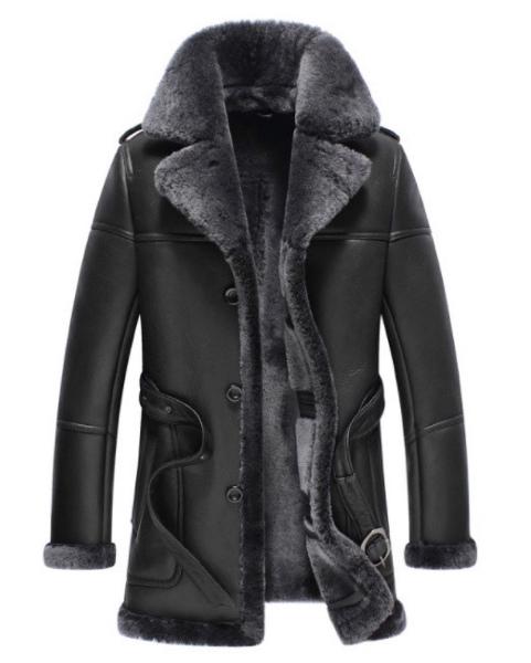 新品 セレブレザー 本革 毛皮 リアルムートンコートジャケット コート テーラード ファー ボア M-4XL  ブラック 黒色 メンズ ビジネス