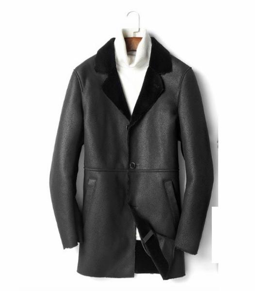 新品 セレブレザー 本革 毛皮 チェスタームートンコートロング ファー ボア L-4XL ブラック 黒 メンズ