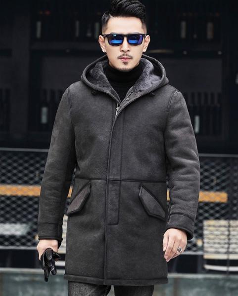 新品 セレブレザー 本革  リアルムートンファー毛皮羊皮ラムレザージャケットロングコートパーカー スエード JKT ブラック黒 M-4XL ビジネス 大 メンズ