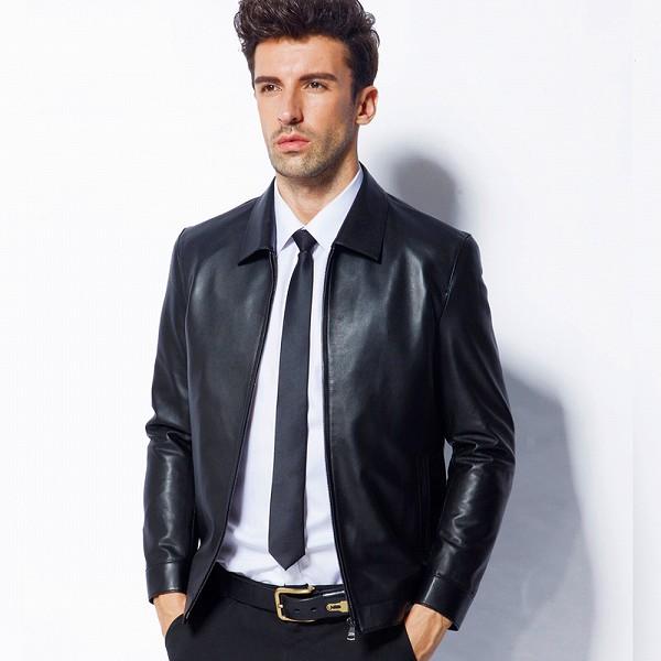 celebleather 羊皮革 メンズレザー ジャケット ビジネスカジュアル 紳士 スリム  cf-MC14C079 ブラック