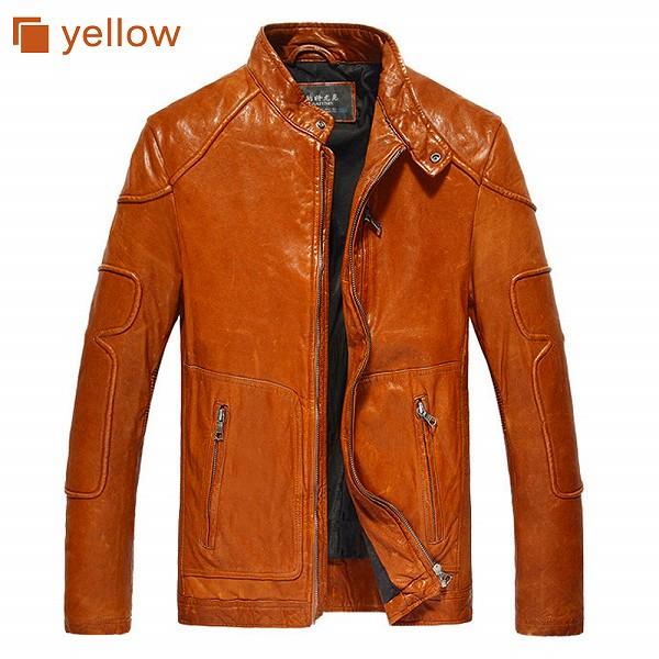 celebleather 羊皮革 メンズレザー ジャケット オートバイ アメリカンスタイル バイカージャケット  cf-N14936 イエロー レッド ブラック