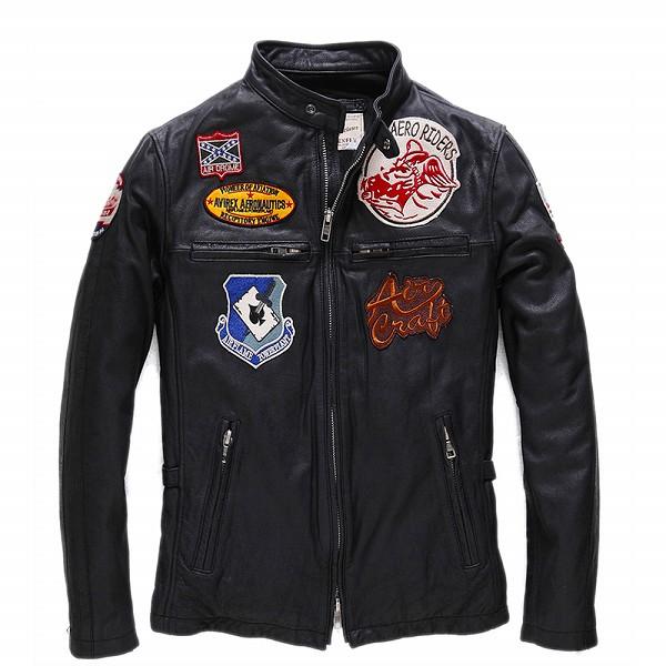 celebleather 羊皮革 メンズレザー ジャケット ジャケット オートバイ  バイカー  cf-PY15C913 ブラック