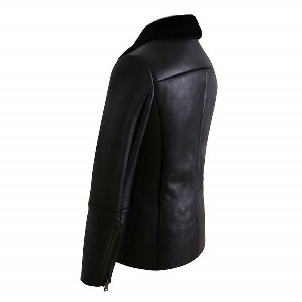 celebleather 羊皮 カモフラージュ  スリムレザー ジャケット 毛皮 ビジネス カジュアル ジッパー バイカー cf-m8167 ブラック
