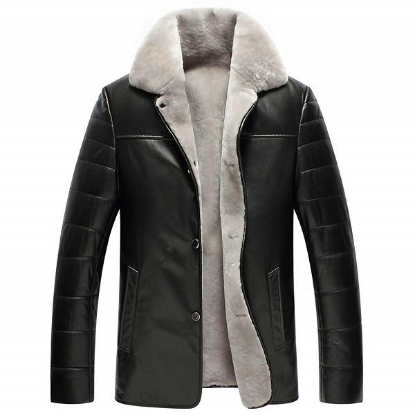 celebleather 羊皮 カモフラージュ 羊皮 羊毛 ビジネス カジュアル レザー 長いセクション cf-pm15901 ブラック