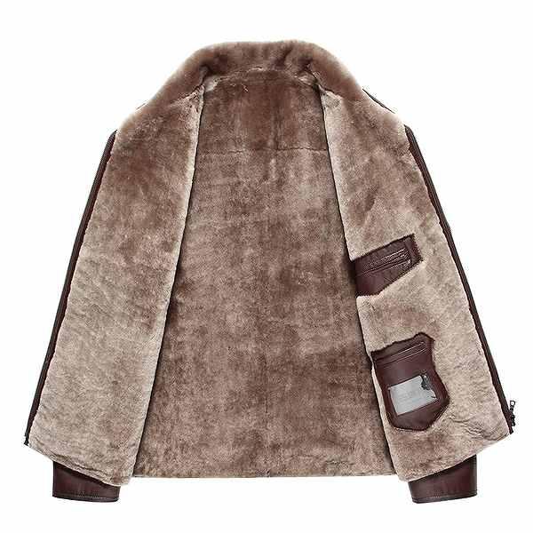 セレブレザー メンズ 本革 ムートンファーボア羊皮羊毛ウールラムレザーコートジャケット JKT 革ジャンcf-521406277818