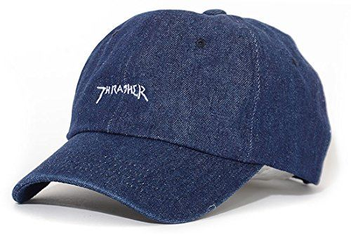 THRASHER スラッシャー ローキャップ 帽子 デニム ストラップバック 手書きロゴ刺繍 (16TH-C26) F DARK-DENIM