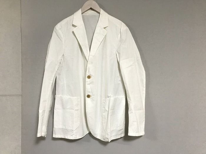 【中古】美品本物エディフィスEDIFICE薄手コットン2Bテーラードジャケットメンズホワイト白46Mスーツビジネスミリタリー
