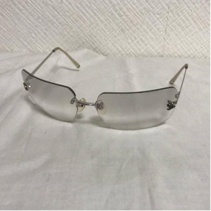 【中古】本物シャネルCHANELサングラスメガネ眼鏡ココマーク旅行トラベルシルバー伊達レディースメンズ