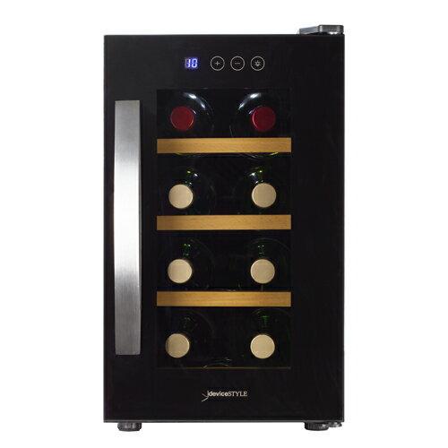デバイスタイル CE-8W本体カラー:ブラック 8本ワインセラー 家庭用ワインセラー送料無料 deviceSTYLE ペルチェ式 家庭用 コンパクト N/B