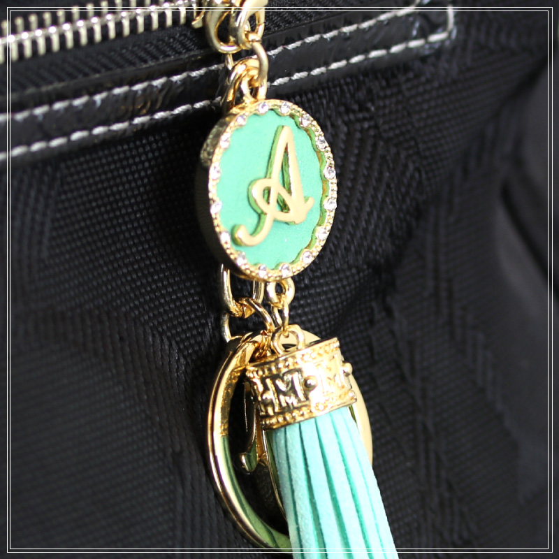 Initial tassel charm 18K coating suede cloth gold key charm bag charm bag  fringe chain gift cenfill glitter brand glitter key ring parts bag