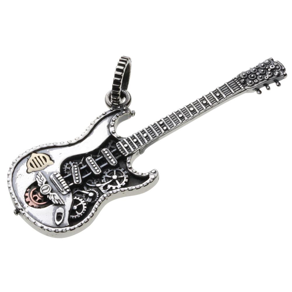 シルバーネックレス ネックレス ペンダントトップ メカニカル エレキ 音楽 楽器 ミニチュア スターリングシルバー925(純銀) メンズ レディース