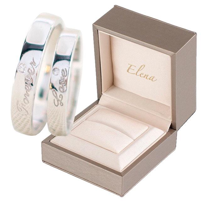 送料無料高級感のある輝きで存在感があり、末長くご愛用いただけます。 Elena エレナ ペア リング 指輪 フリーサイズ シルバー Forever Love CZダイヤ(キュービックジルコニア) 専用BOX付きアクセサリー アクセ ペア売り セット売り 調整可能 レディース メンズ 人気 おしゃれ ブランド オススメ 直送
