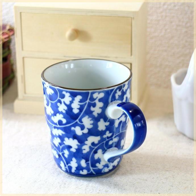 《マグカップ》朝のonecupofcoffee ブルーレトロマグカップ オンライン限定商品 カップ 和風 染付 代引き不可 美濃焼 和食器 訳あり 紅茶 コーヒー