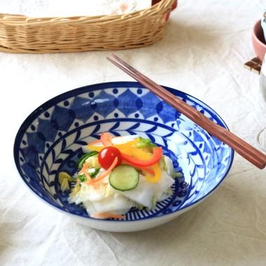 《大鉢》シリーズで集めたくなる ブルーアラビアン 21.5cmサラダボール オシャレな欧風デザイン 煮物鉢 丼 倉 そうめん鉢 お金を節約 国産 訳あり 美濃焼 たっぷりサラダ うどん鉢