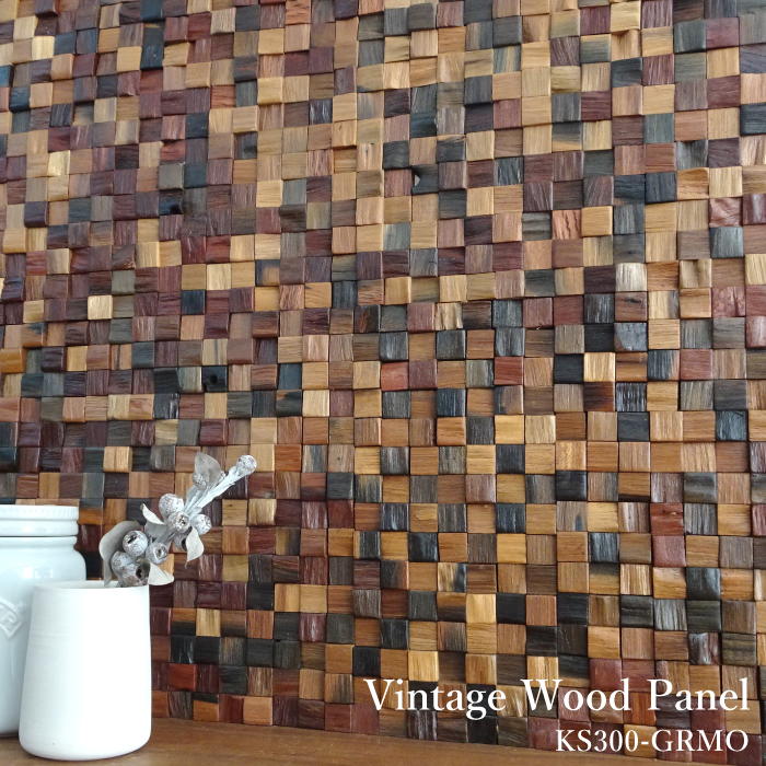 DIY リノベーションの壁材として最適な天然木のウッドタイル テクスチャー 色合いと加工性と施工性を兼ね備えたオシャレな壁用のウッドパネル タイル レンガとの相性もグッド SS期間中 ☆最安値に挑戦 全品P5倍 ウッドタイル 天然木 ウッドパネル 壁用 KS300-GRMO 内壁 シート販売 アンティーク 古材タイル セラオールドトゥリー 300×300mm 木材 ヴィンテージ 壁材 内装材 完全送料無料 3Dウッド