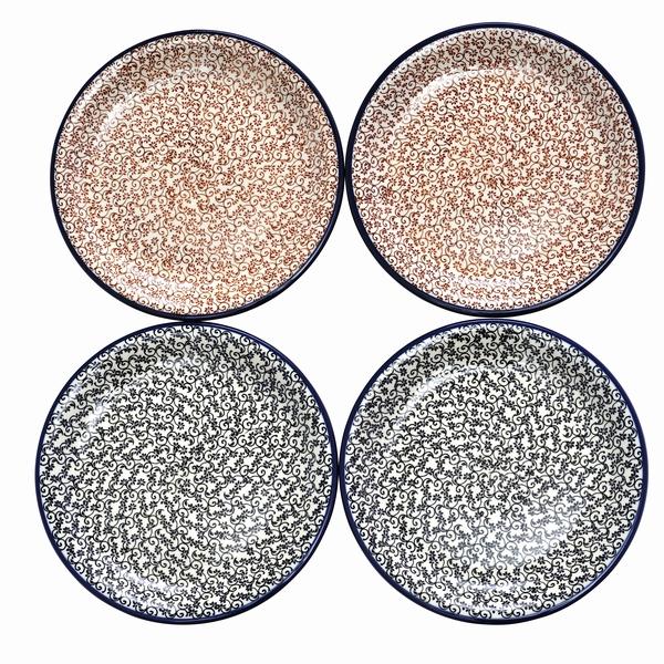 セラミカ(ツェラミカ)【フォーリアノワール&ルージュ】ファミリープレートセット|ポーリッシュポタリー(ポーランド陶器・北欧・Ceramika Artystyczna)|※包装のしメッセージカード無料対応