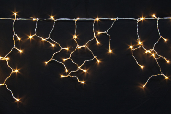 LEDイルミネーションツララ常時点灯V4 140球オレンジゴールド高さ:24cm~72cm幅:351cm