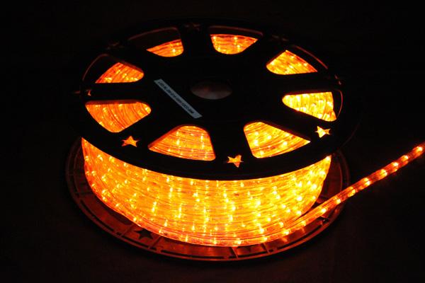 LEDイルミネーションチューブライト10mm*50m1800球アンバー(オレンジ)