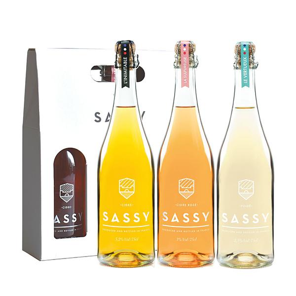 シードル アルコール 18%OFF ソフトドリンク ワイン フランスワイン 授与 SASSY-サッシー-シードル750ml 3種セット ギフトボックス付き 常温 送料無料 冷蔵 ポワール W 3~4営業日以内に出荷 ロゼ