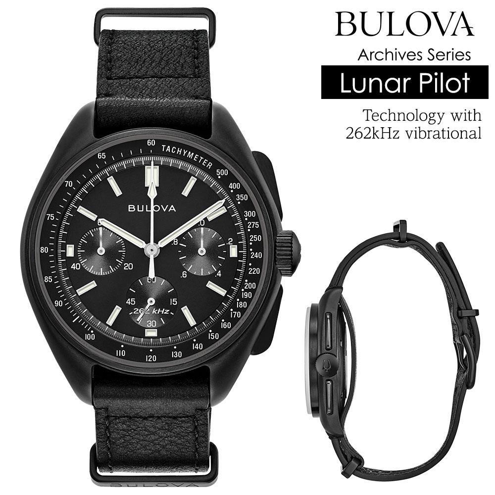 ブローバ 腕時計 BULOVA 時計 メンズ腕時計 クロノグラフ アーカイブシリーズ ルナ パイロット ハイパフォーマンスクオーツ 262kHz駆動 ブラックフェイス カーフレザーベルト Archive Series Lunar Pilot Chronograph 98A186