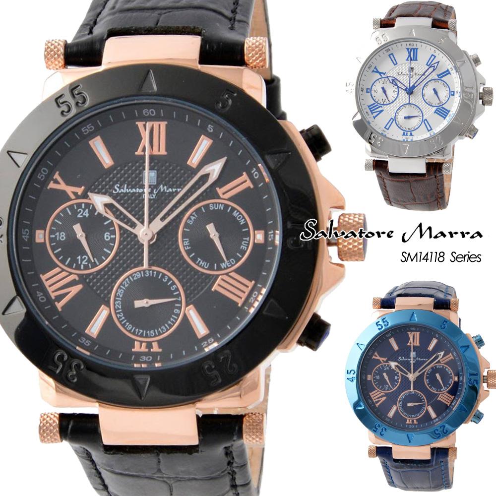 サルバトーレマーラ Salvatore Marra メンズ 腕時計 レザーベルト アナログカレンダー SM14118シリーズ