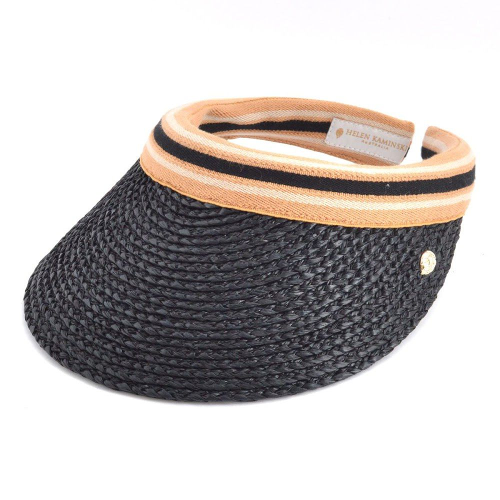ヘレンカミンスキー HELEN KAMINSKI Marina Charcoal Black Stripe マリーナ UPF50+ サンバイザー ラフィア製ハット レディス帽子