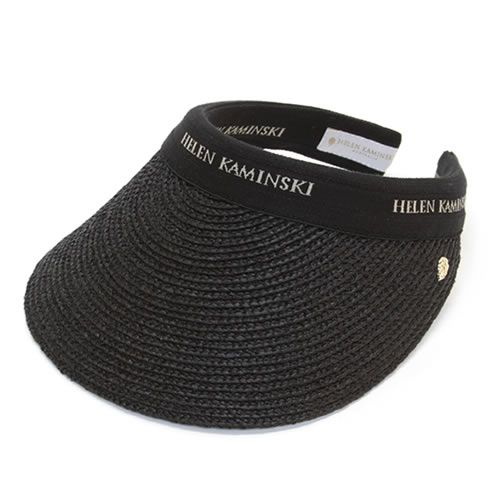 ヘレンカミンスキー Bianca Charcoal Black Logo 2015SS ビアンカ UPF50+ クリップ サンバイザー ラフィア製ハット レディス帽子