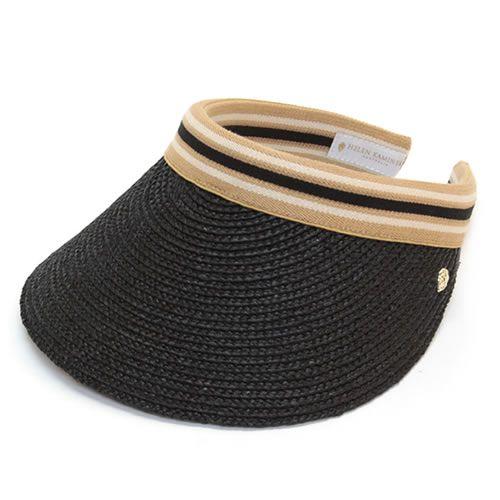 ヘレンカミンスキー Bianca Charcoal Black Stripe 2015SS ビアンカ UPF50+ クリップ サンバイザー ラフィア製ハット レディス帽子