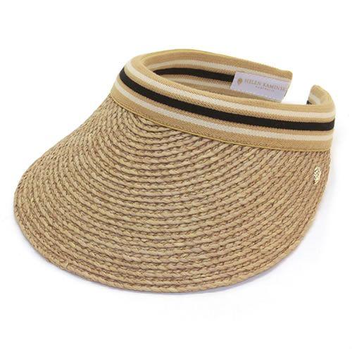 ヘレンカミンスキー Bianca Nougat Black Stripe ビアンカ UPF50+ クリップ サンバイザー ラフィア製ハット レディス帽子
