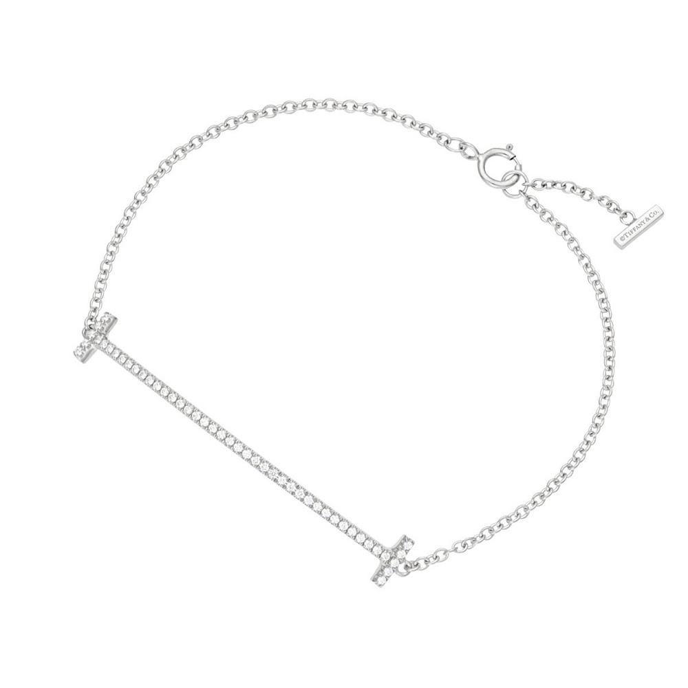 ティファニー TIFFANY&CO 36667192 Tiffany T スマイル ブレスレット ミディアム 18KWG×ダイアモンド 16cm