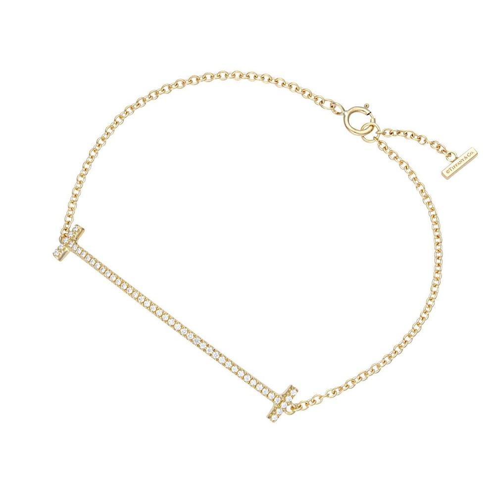 ティファニー TIFFANY&CO 36667222 Tiffany T スマイル ブレスレット ミディアム 18KYG×ダイアモンド 16cm