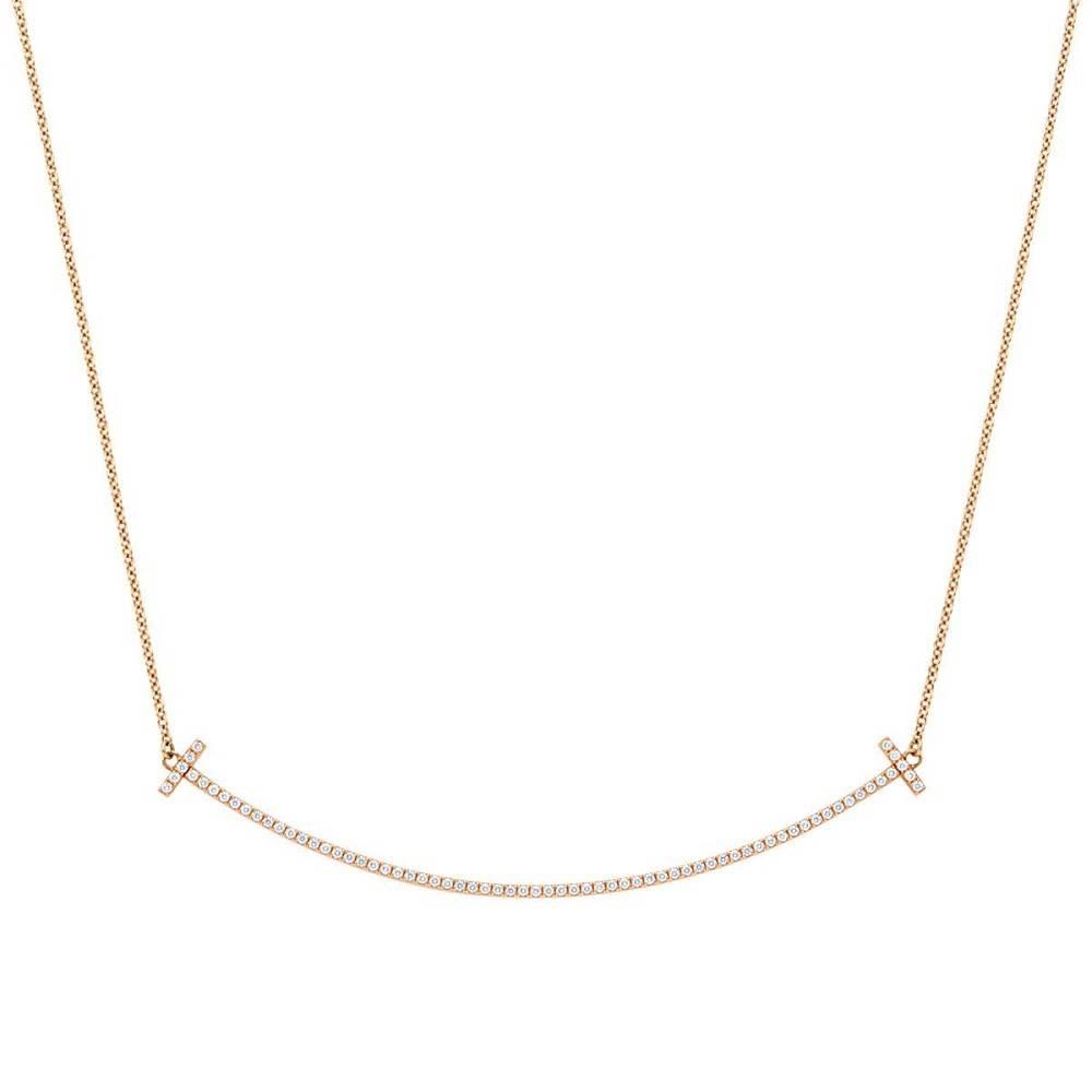 ティファニー TIFFANY&CO 34946086 Tiffany T スマイル ペンダント ネックレス 18KRG×ダイアモンド 41cm~46cm
