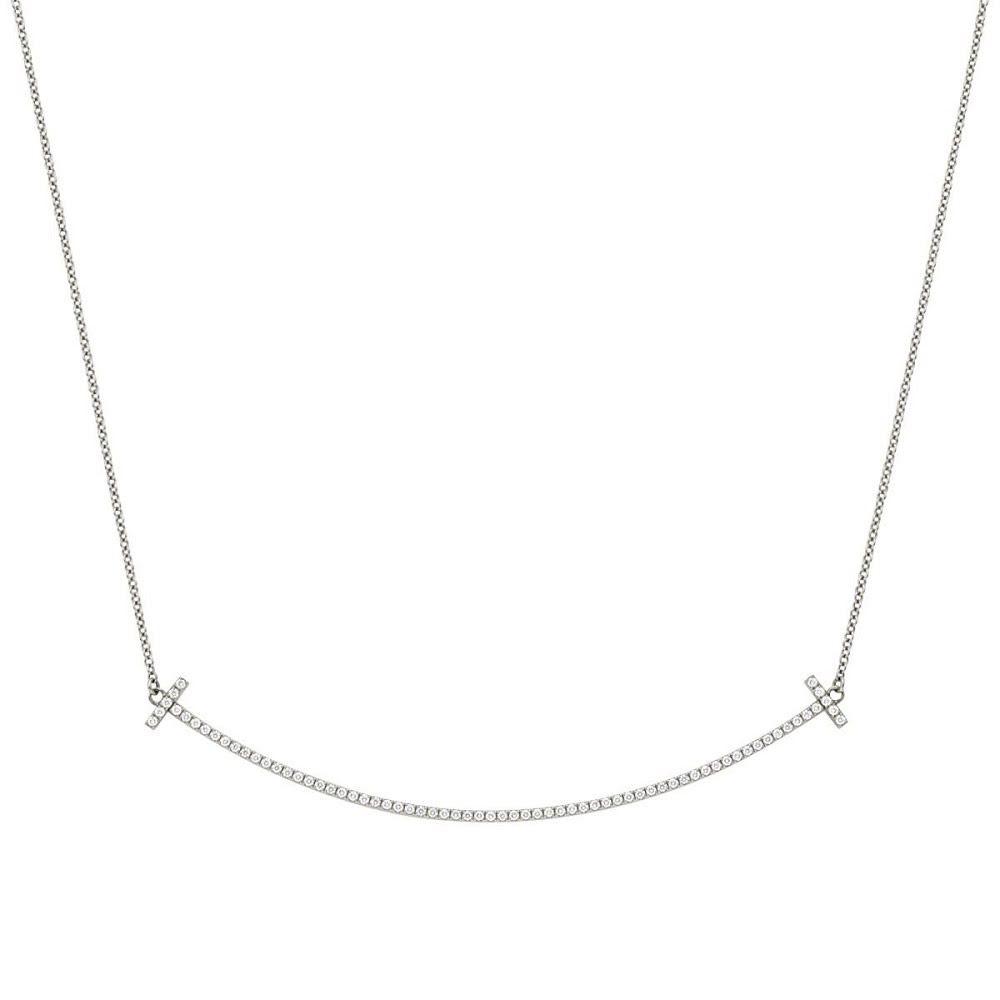 ティファニー TIFFANY&CO 34946051 Tiffany T スマイル ペンダント ネックレス 18KWG×ダイアモンド 41cm~46cm