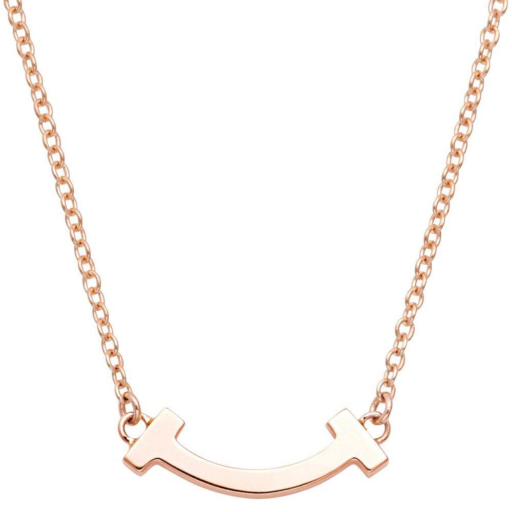 ティファニー TIFFANY&CO 62617748 Tiffany T スマイル マイクロ ペンダント ネックレス 18KRG 41cm~46cm
