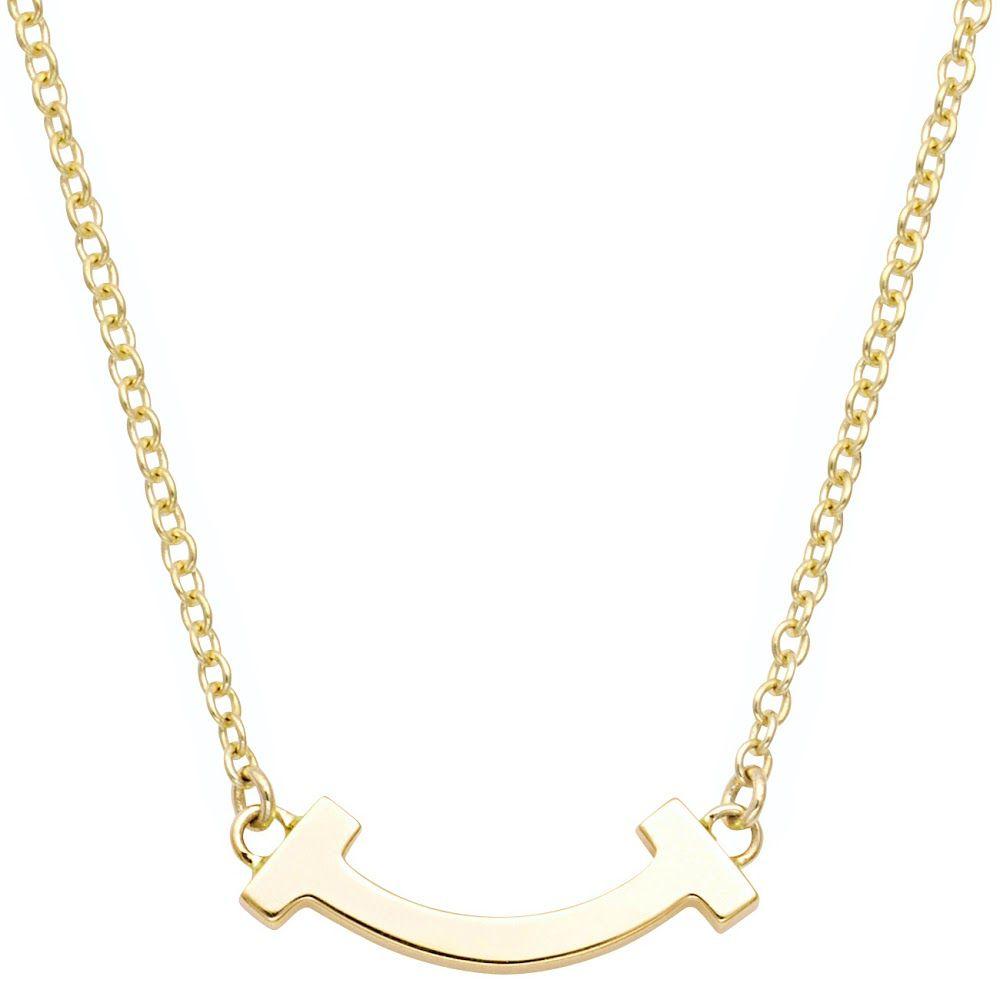 ティファニー TIFFANY&CO 62617659 Tiffany T スマイル マイクロ ペンダント ネックレス 18KYG 41cm~46cm