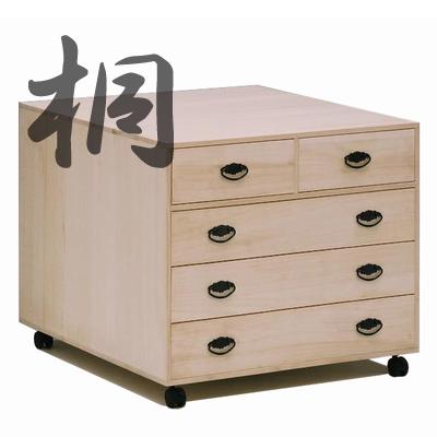 桐押入れタンス 4段キャスター付き(衣装箱・衣装ケース・押入れ収納・収納家具・整理タンス)(木製)