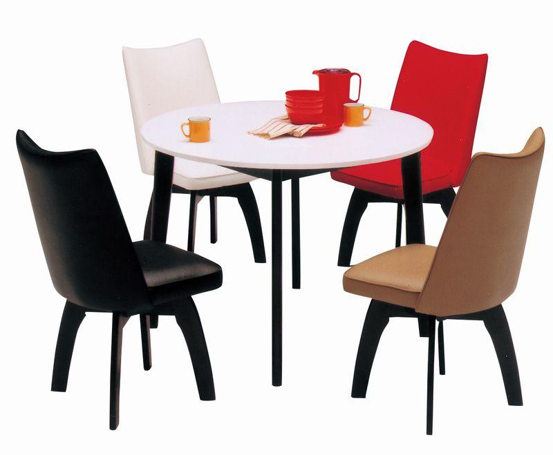 100cm幅 丸形ダイニングテーブル5点セット エスプレッソ 【チェアーカラー:カフェ、ブラック、ホワイト、レッド】