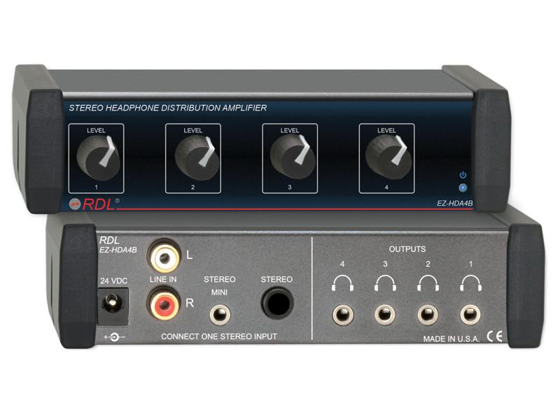 RDL EZ-HDA4B ステレオヘッドフォンディストリビューションアンプ - 1X4背面パネル出力【送料無料】
