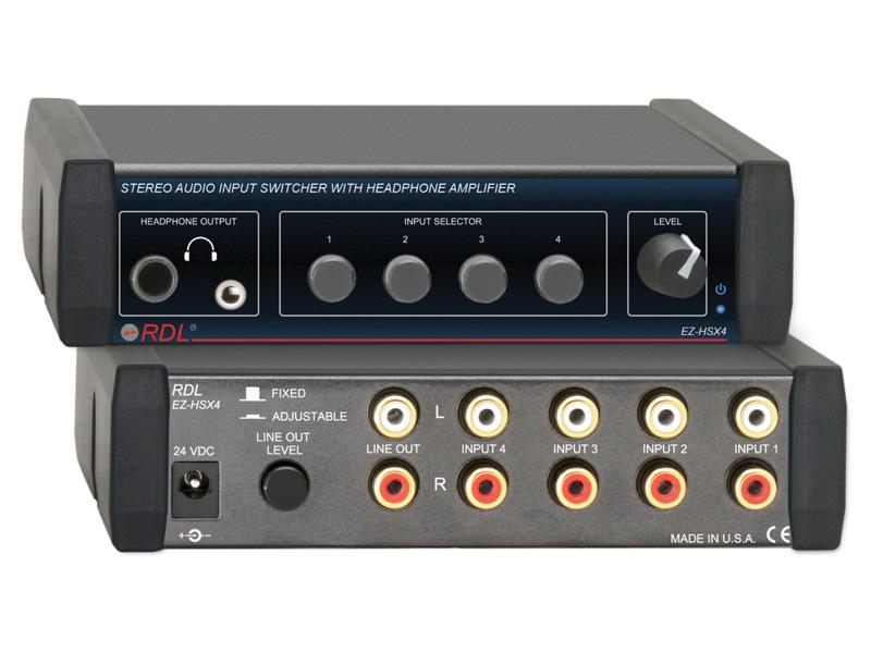 RDL EZ-HSX4 ヘッドフォンアンプ付き、ステレオオーディオスイッチャ― 4X1【送料無料】