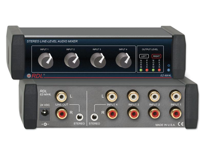 RDL EZ-MX4L ステレオラインレベルオーディオミキサー -4×1規模の小さい音響設備において、複数の信号を取り扱うのに適しています。【送料無料】【smtb-u】