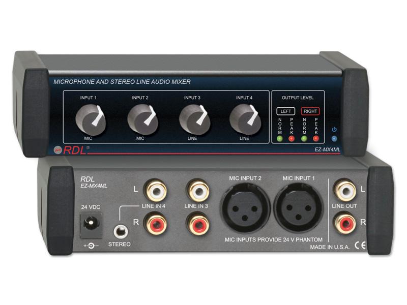 RDL EZ-MX4ML ステレオラインレベルオーディオミキサー -4×12系統のXLRバランスマイク入力付き規模の小さい音響設備において、複数の信号を取り扱うのに適しています。【送料無料】