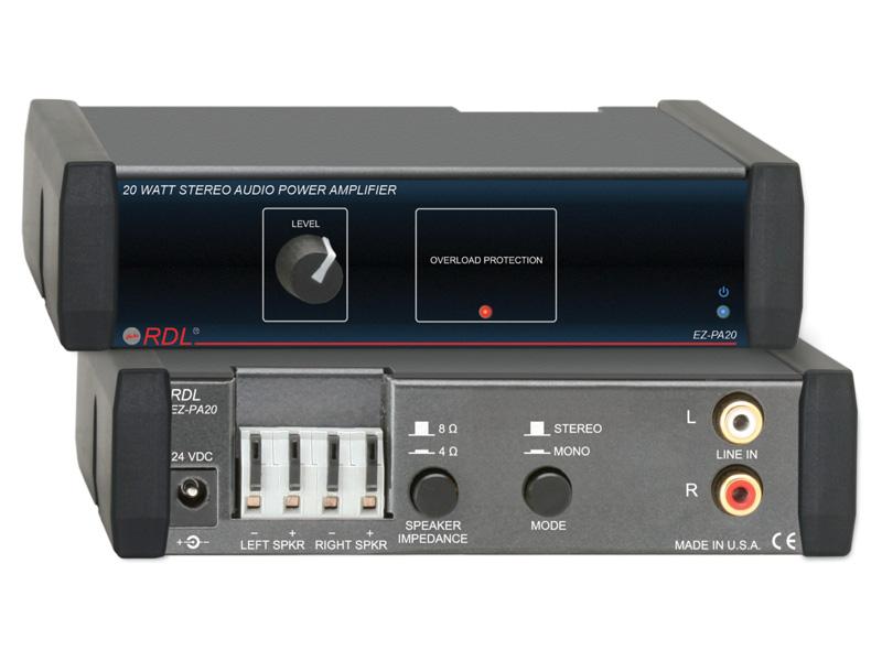RDL EZ-PA20 20Wステレオオーディオパワーアンプ -8Ω、パワーサプライ付属【送料無料】