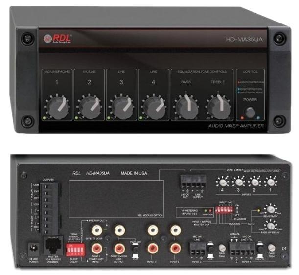 RDL HD-MA35 パワーサプライ付属35Wリモートミキサーアンプ -4Ω/8Ω【送料無料】