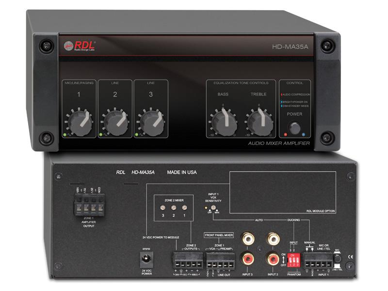 RDL HD-MA35A パワーサプライ付属35Wミキサーアンプ-25V/70V/100V定電圧出力【送料無料】【smtb-u】