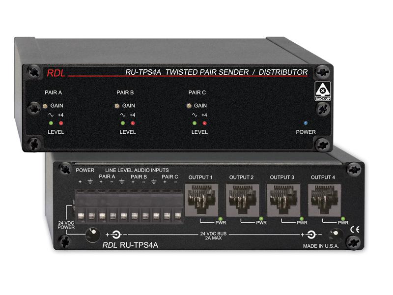 【送料無料】RDLRU-TPS4Aアクティブ送信機/分配器 -ツイストペアFormat-A -3オーディオ入力から4出力