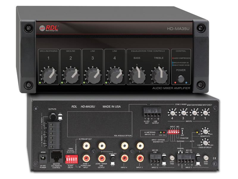 RDL HD-MA35U パワーサプライ付属35Wミキサーアンプ-4Ω/8Ω【送料無料】