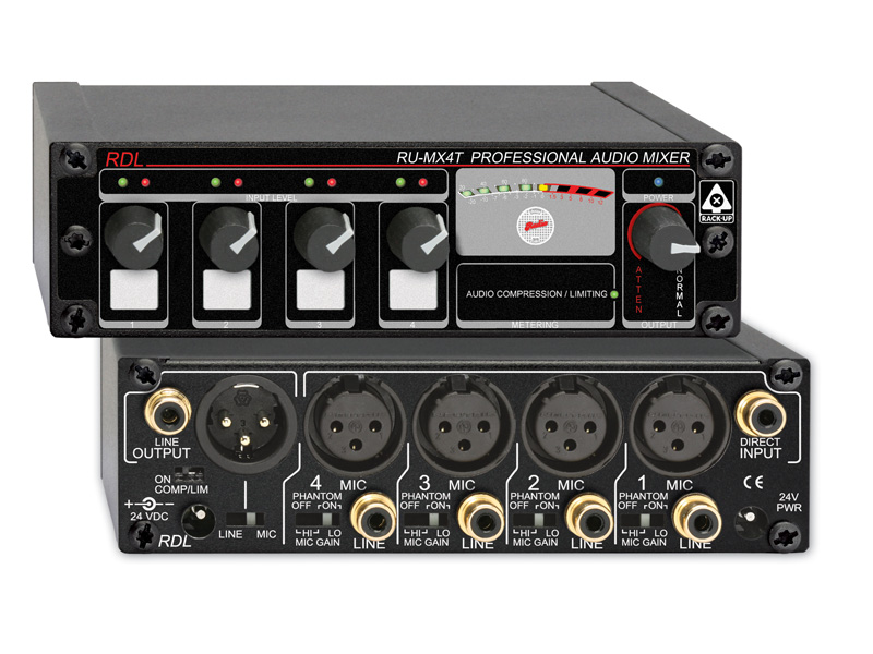 RDL RU-MX4T ファンタム電源付(マイク/ライン出力)プロ用4チャンネルマイク/ラインミキサー-マイク/ライン出力トランス付【送料無料】