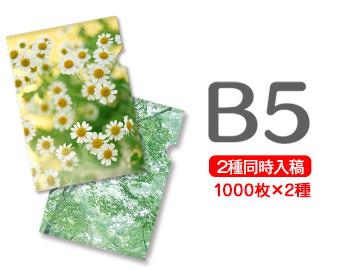 B5クリアファイル印刷1000枚+1000枚=2000枚