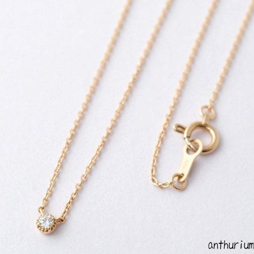 Anthurium K18PG diamond necklace